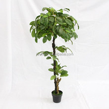 Indoor artificial big leaves plant trees wooden trunk for decoration