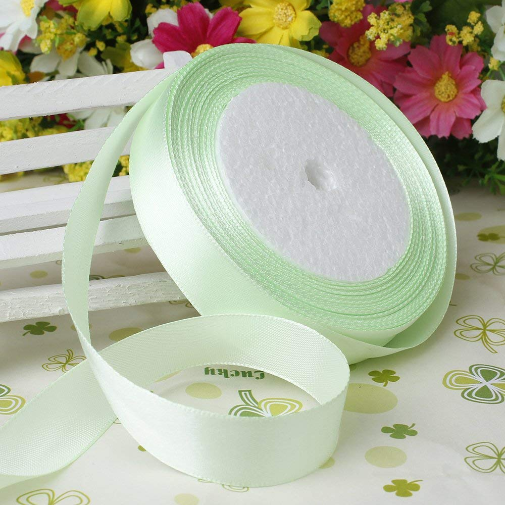 """5/8"""" 15mm Wide 25 Yards Ribbon Solid Satin Ribbon Roll for Bows Craft Gift Packing Home Decor Birthday Baby Shower Wedding Favor, Multi-Colors (Light Green)"""
