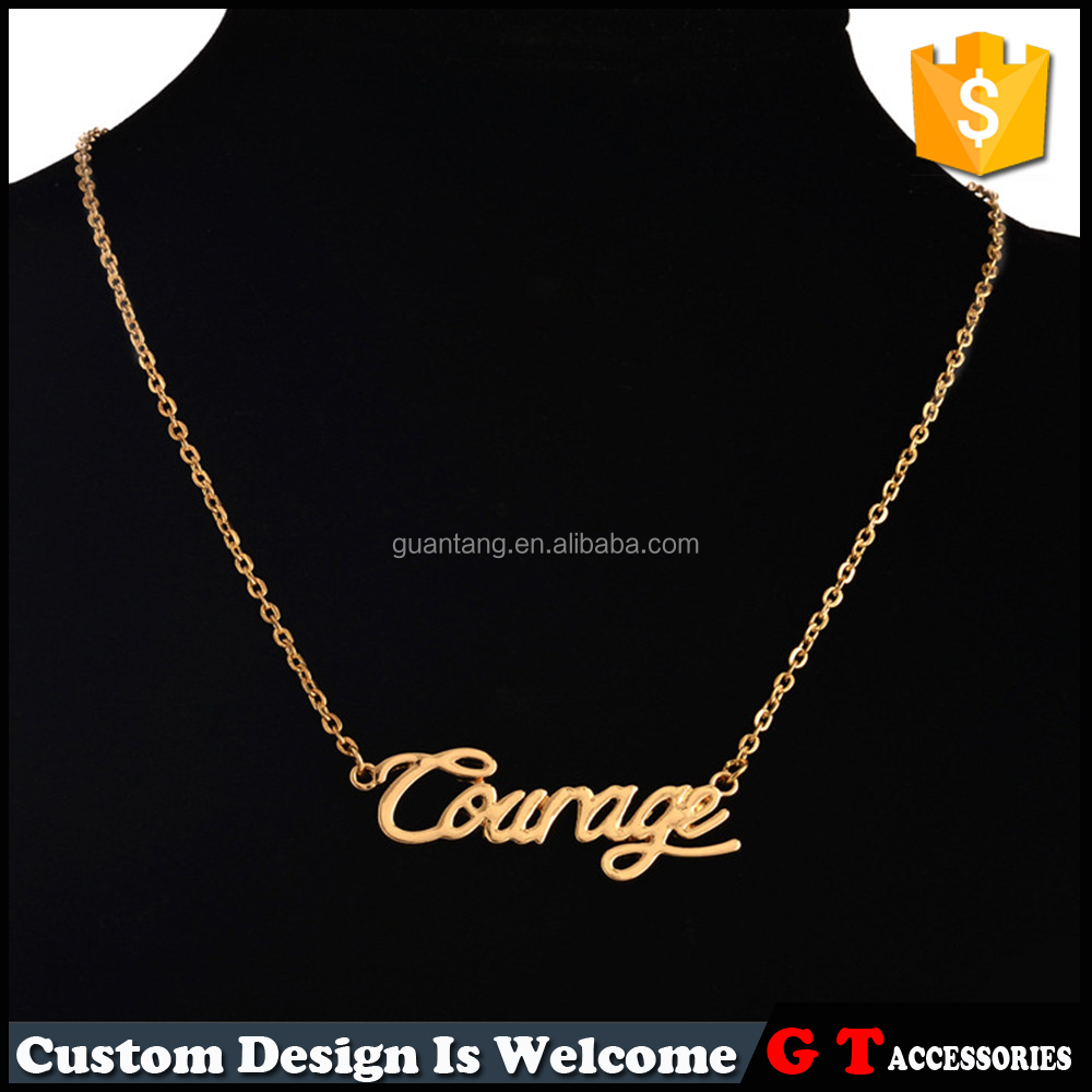Wholesale Custom Cheap Price Monogram English Word Stainless Steel Necklace