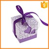 Custom romantic purple square paper wedding gift box for a wedding