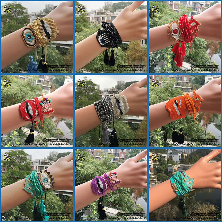 Handmade glass bead bracelet patterns tassel jewelry eye glass seed bead friendship bracelets