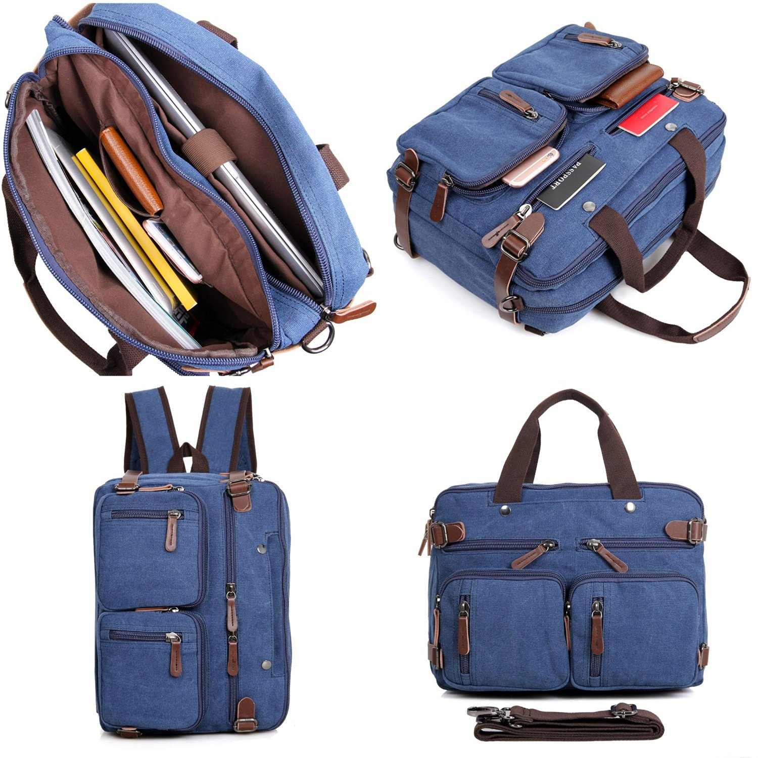 5c3bf9b4ee1 Clean Vintage Hybrid Laptop Backpack Messenger Bag   Convertible Briefcase  Backpack BookBag Rucksack Satchel Waxed Canvas