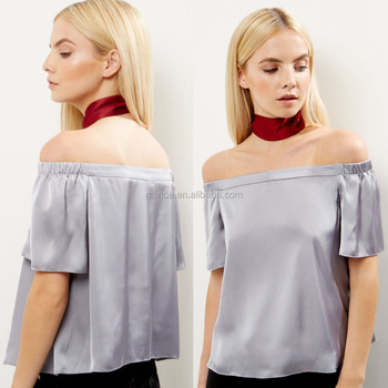 48696c5f51619 Women Fashion Petite Silver Sateen Bardot Neck Tops Blouses Wholesale Off  shoulder Sexy Tunic Tops