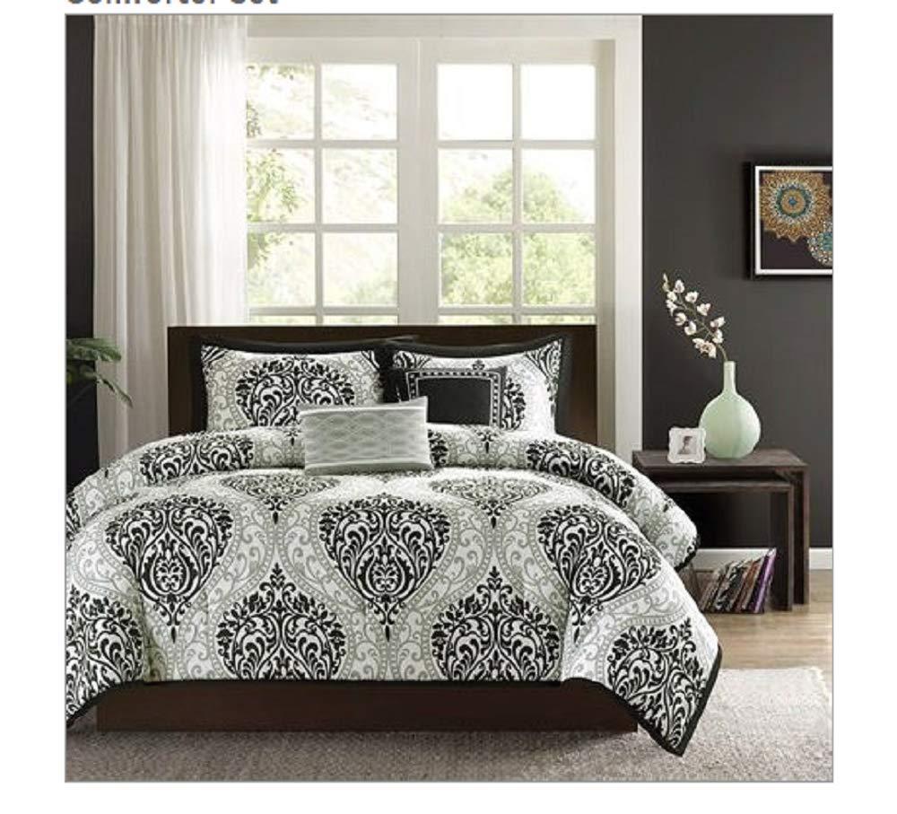 CHOOSEandBUY King Size 5-Piece Damask White Black Comforter Set Machine Washable