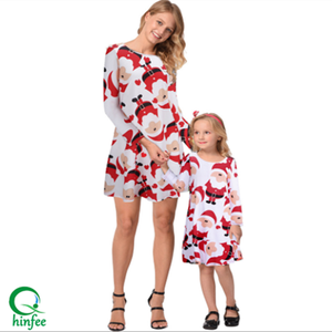 CH130 Hot Sale Mother And Daughter Santa Claus Printing Dresses