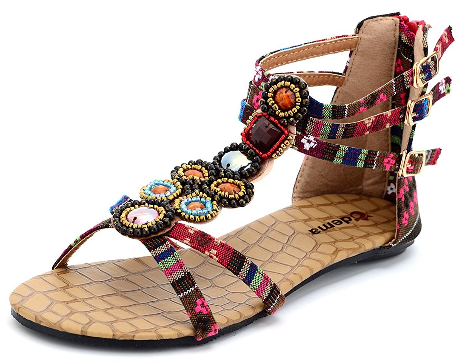 67a810e86 Get Quotations · Odema Womens Flat Sandals Summer Bohemian Beaded Beach  Thong Dressy Sandals