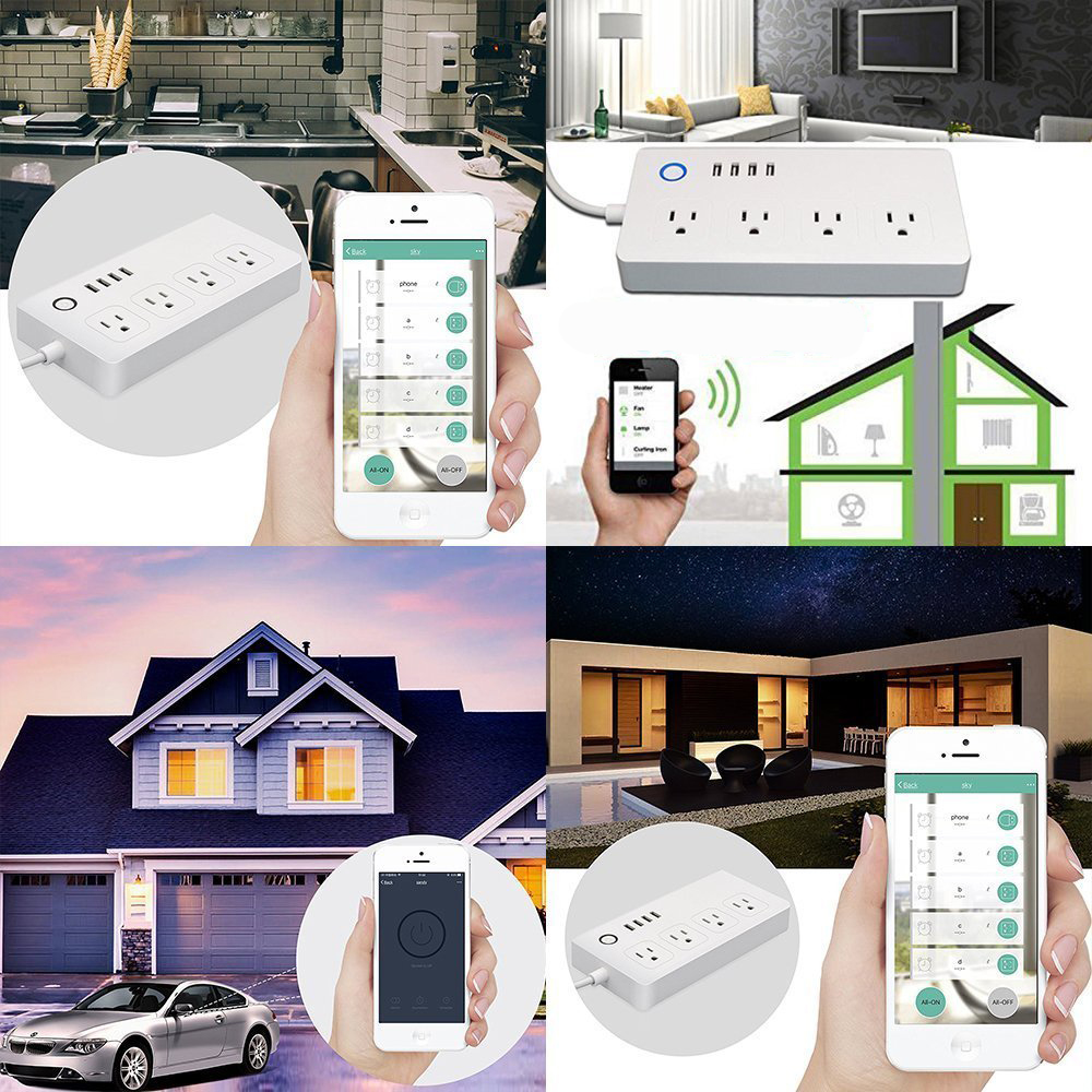 XENON Electrical Switch Sockets Works with Amazon Alexa WiFi Smart Power Strip Surge Protector
