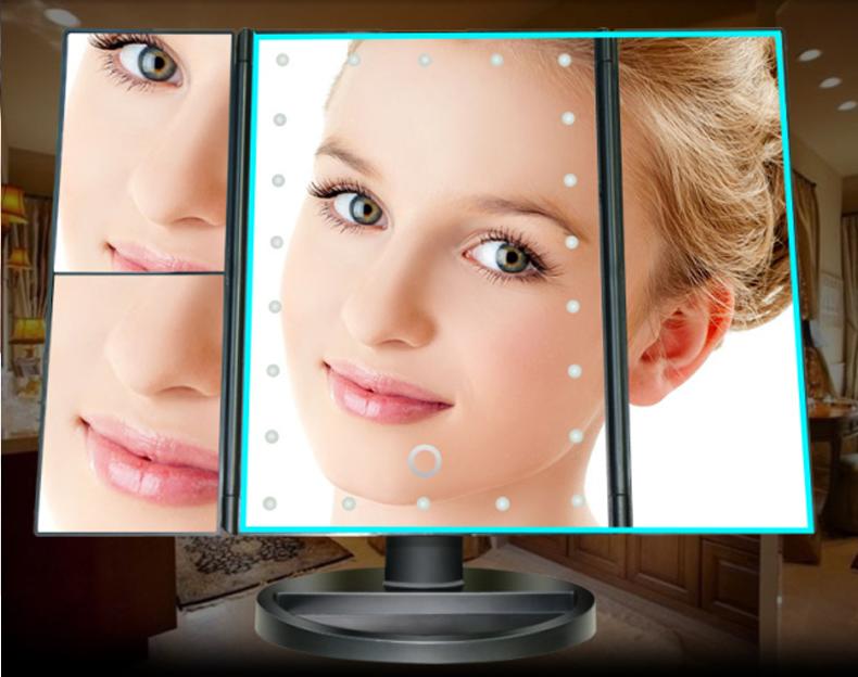 Cheap Bulk Magnification Large Big Portable Custom Illuminated Foldable Square 22 Smd Led Lights Hotel Makeup Mirror