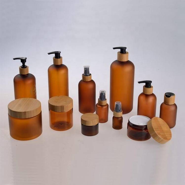 Cosmetic Pump Spray Cream Glass <strong>Bottles</strong> with Bamboo Top Caps