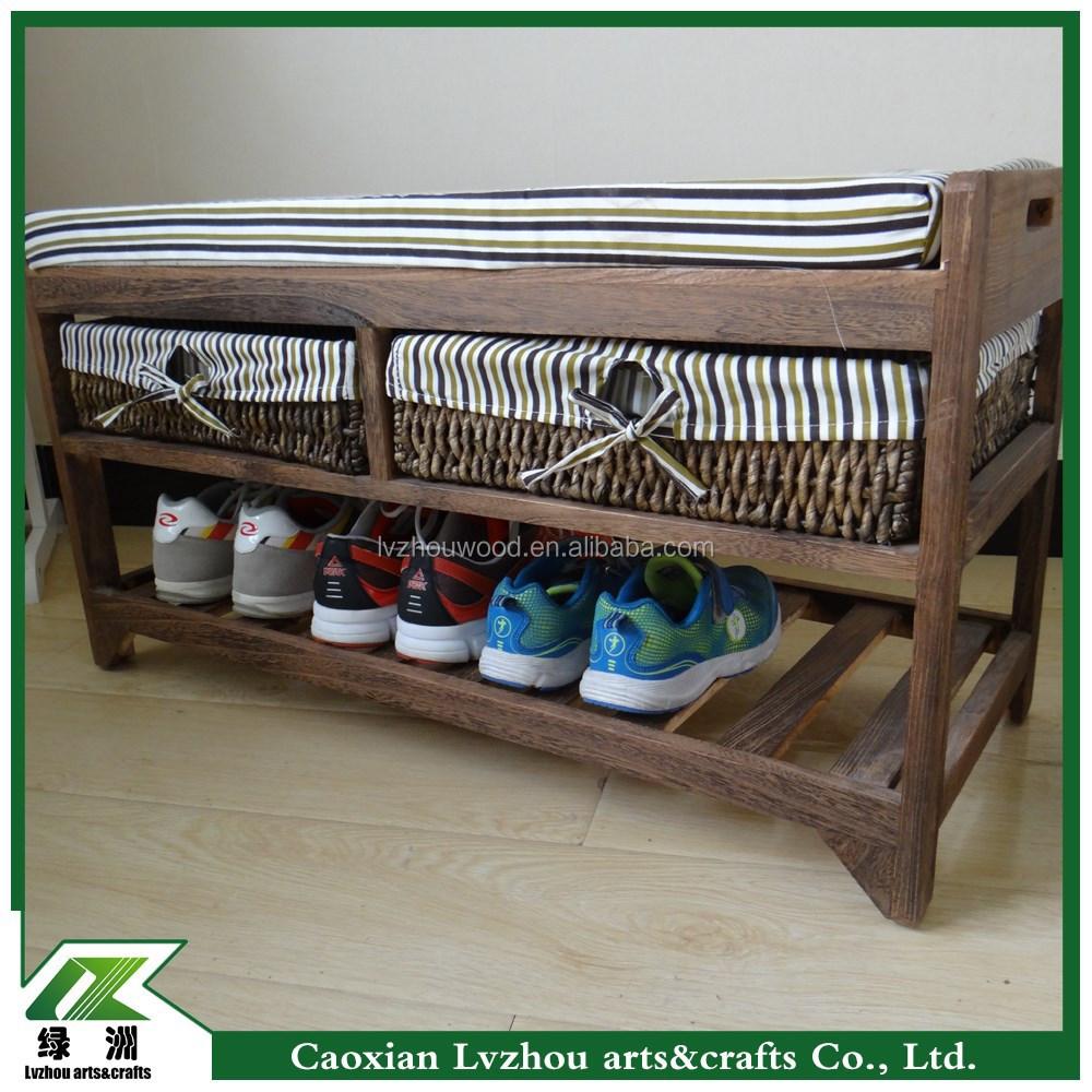 banc avec herbiers paniers de rangement en bois coussin de si ge meubles en bois id de produit. Black Bedroom Furniture Sets. Home Design Ideas