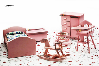 Vintage Doll House Miniature Furniture Nite Stands Bed Crib Cradle