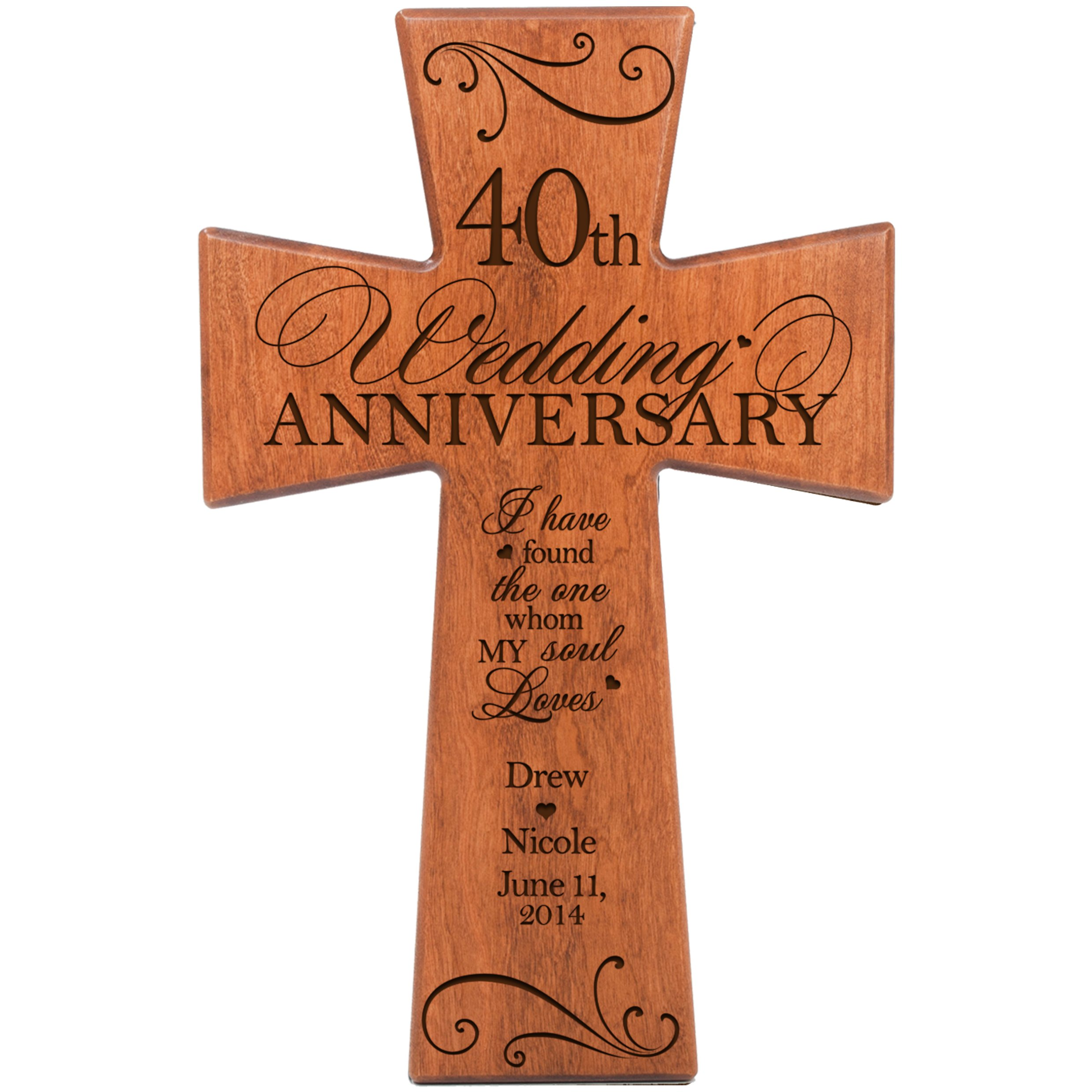 Personalized 40th Wedding Anniversary Gift for Couple Cherry Wall Cross, 40th Ruby Gifts for Her 40 year ideas for Him I Have Found the One Whom My Soul Loves by DaySpring Milestones (12x17)