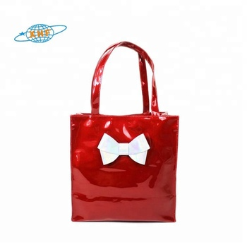 Women cheap pu leather handbags reusable gift bags sturdy shopping bag from china