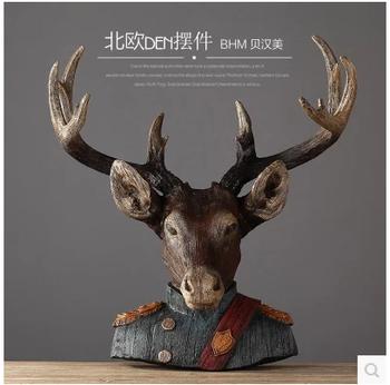Hot Custom Elk Home Decor Resin Modern Animal Heads Wall Hanging