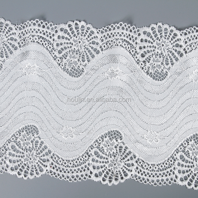 T1537 18cm new fashion fancy different types of scallop chantilly border lace trim for bridal