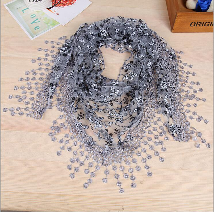malaysia new fashion summer nylon triangle head scarf with lace trim kuala lumpur african scarf
