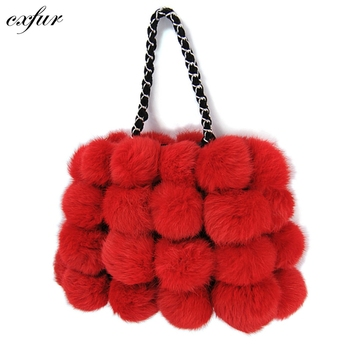 Cx H 11h Normal Real Handbags Fuzzy Rabbit Bags Women Fur Bag