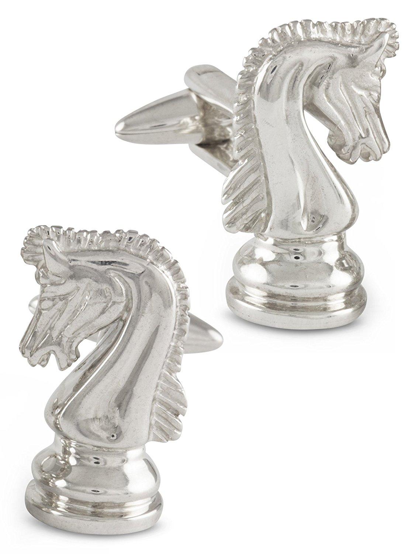 ZAUNICK Knight Chess Cufflinks, Sterling Silver
