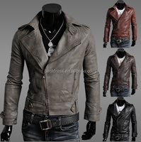 Fashion Men's clothing Slim Fit Casual Suit Coat leather Jacket