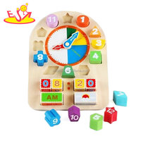 Funny early kids number and time learning wooden clock toys for sale W14K021