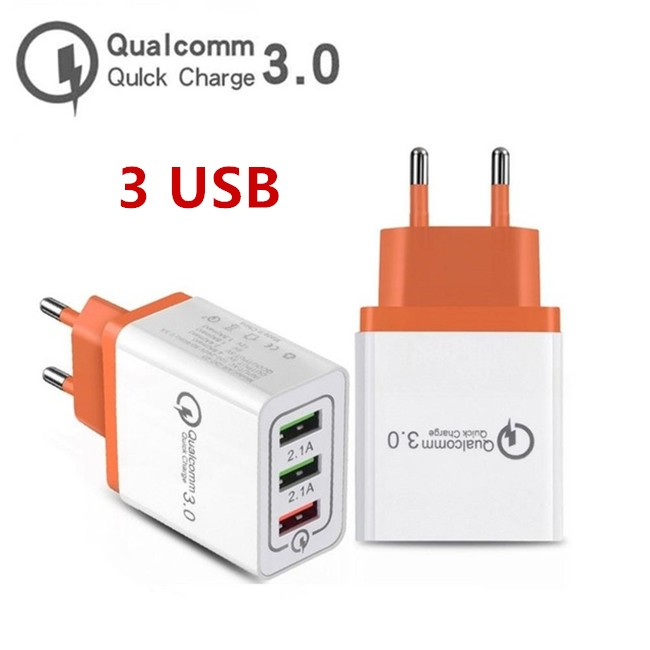 Portable Quick 3.0 18W EU US Plug Flash Charging QC 3.0 Smart Charger 3 USB Port Mobile Phone Travel Wall Charger Adapter