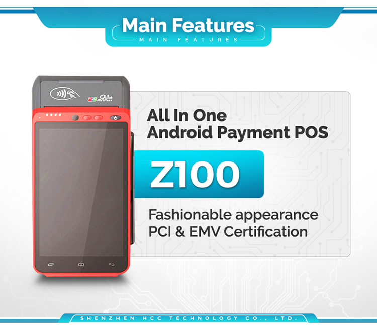 3G/4G/WIFI Smart Payment Portable Biometric Terminal POS With Fingerprint Reader Z100