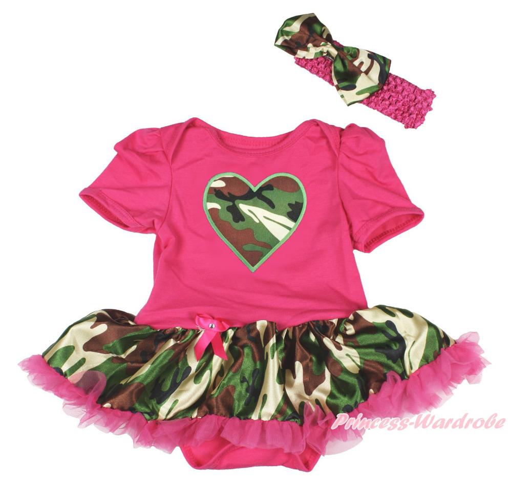 Valentine s Day Camouflage Heart Hot Pink Bodysuit Pettiskirt Baby Dress NB 18M MAJSA0155