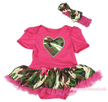 Valentine's Day Camouflage Heart Hot Pink Bodysuit Pettiskirt Baby Dress NB-18M MAJSA0155