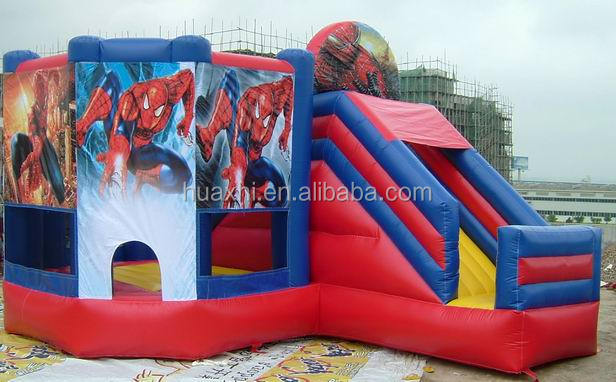 PVC tarpaulin inflatable spider-man cartoon theme inflatable castle inflatable bounce with slides combo