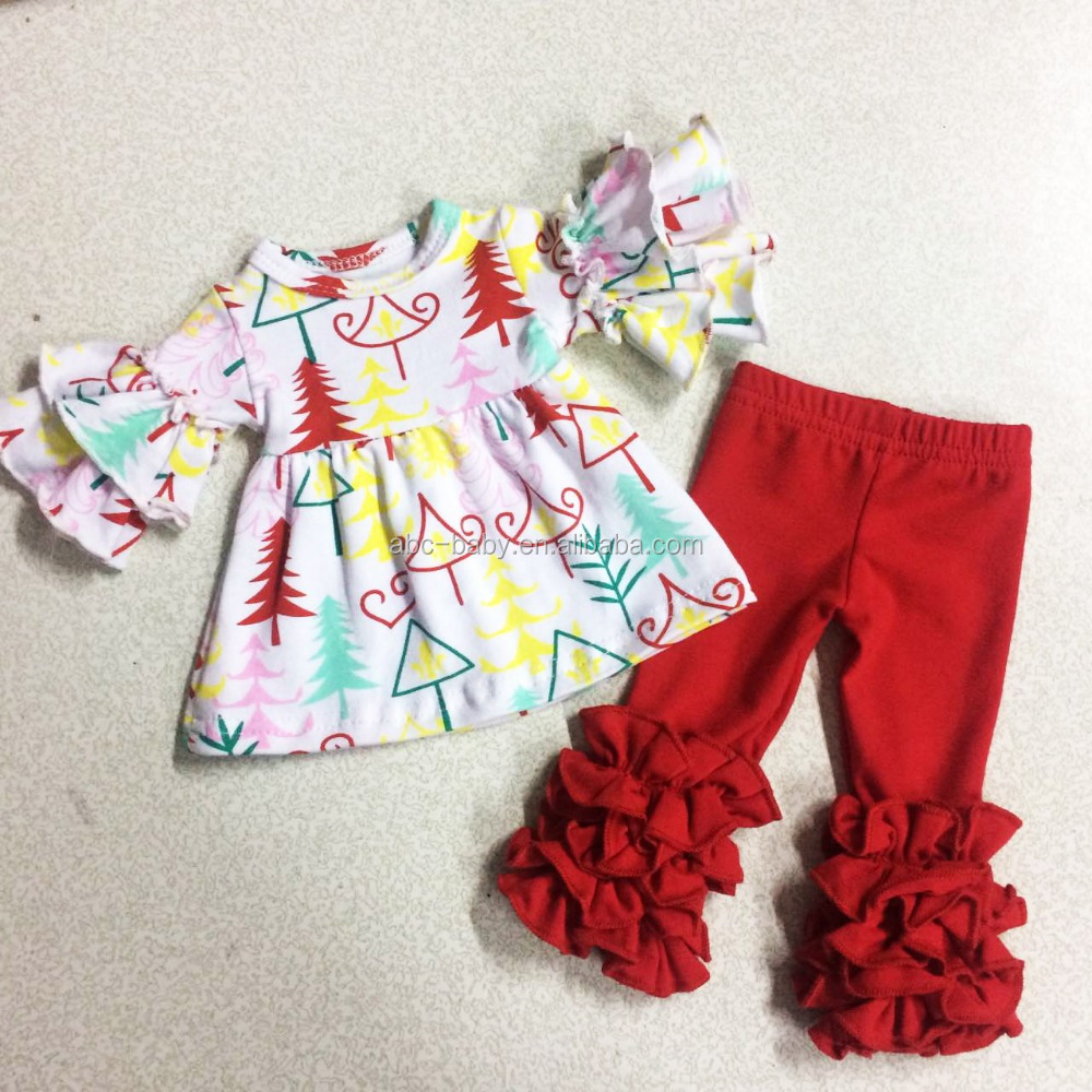 Baby Clothes Wholesale Children's Boutique Clothing Christmas Doll Size Icing Ruffle Legging Outfits