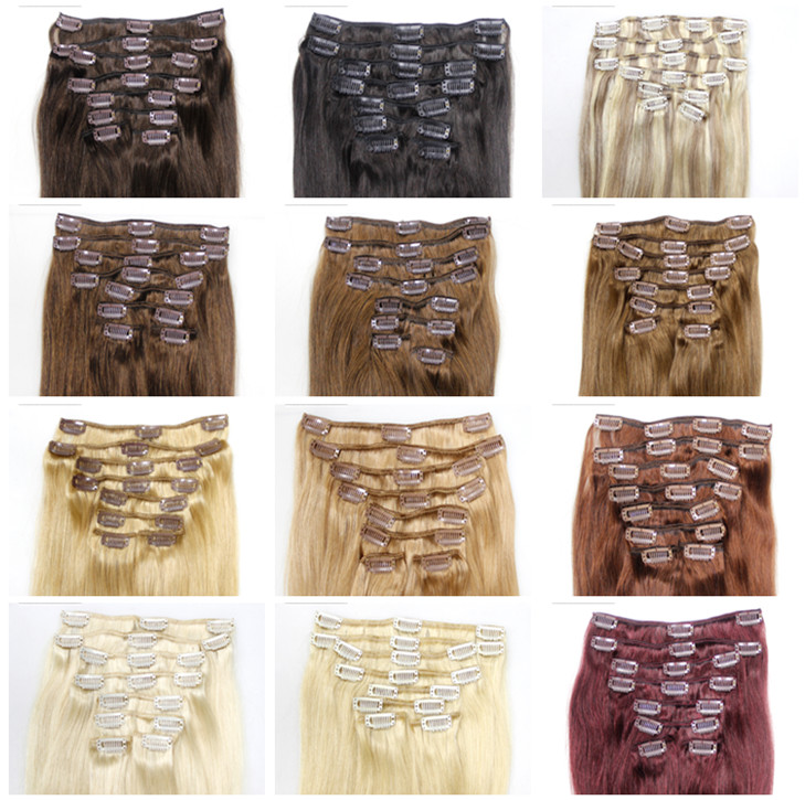 2019 100% Hot Sale double drawn remy one piece clip in human hair extensions, curly wholesale ombre color hair for black women