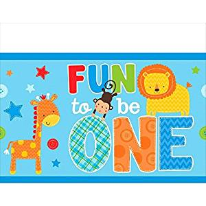 One Wild Boy Birthday Party Plastic Table Cover, Multi Colored, plastic, 54 inches x 102 inches