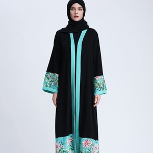New trendy embroidery black front open abaya muslim women dress islamic clothing dubai abaya