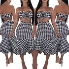 Wish speed sell new Sexy women's dress printed sexy chest night dress two piece of lotus leaf skirt 1838