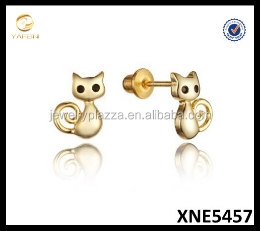 14k Gold Plated Silver Plain Baby Cat Screwback Girls Earrings, Sterling SIlver Jewelry