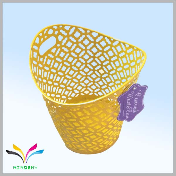 Office supplies large metal wire mesh yellow trash can