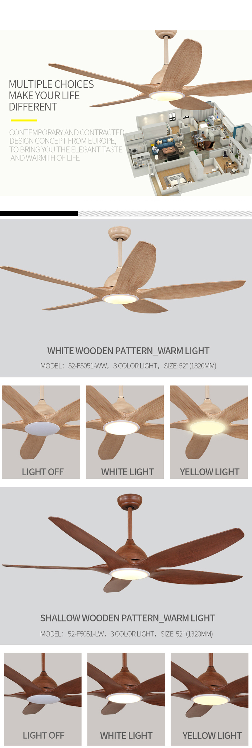 Manufacturer supplier good quality home decorative ceiling fan with light