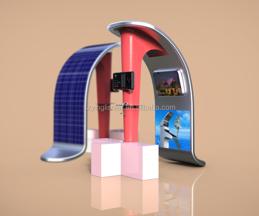 New Public Portable Solar mobile charging station with Rolling LCD screen