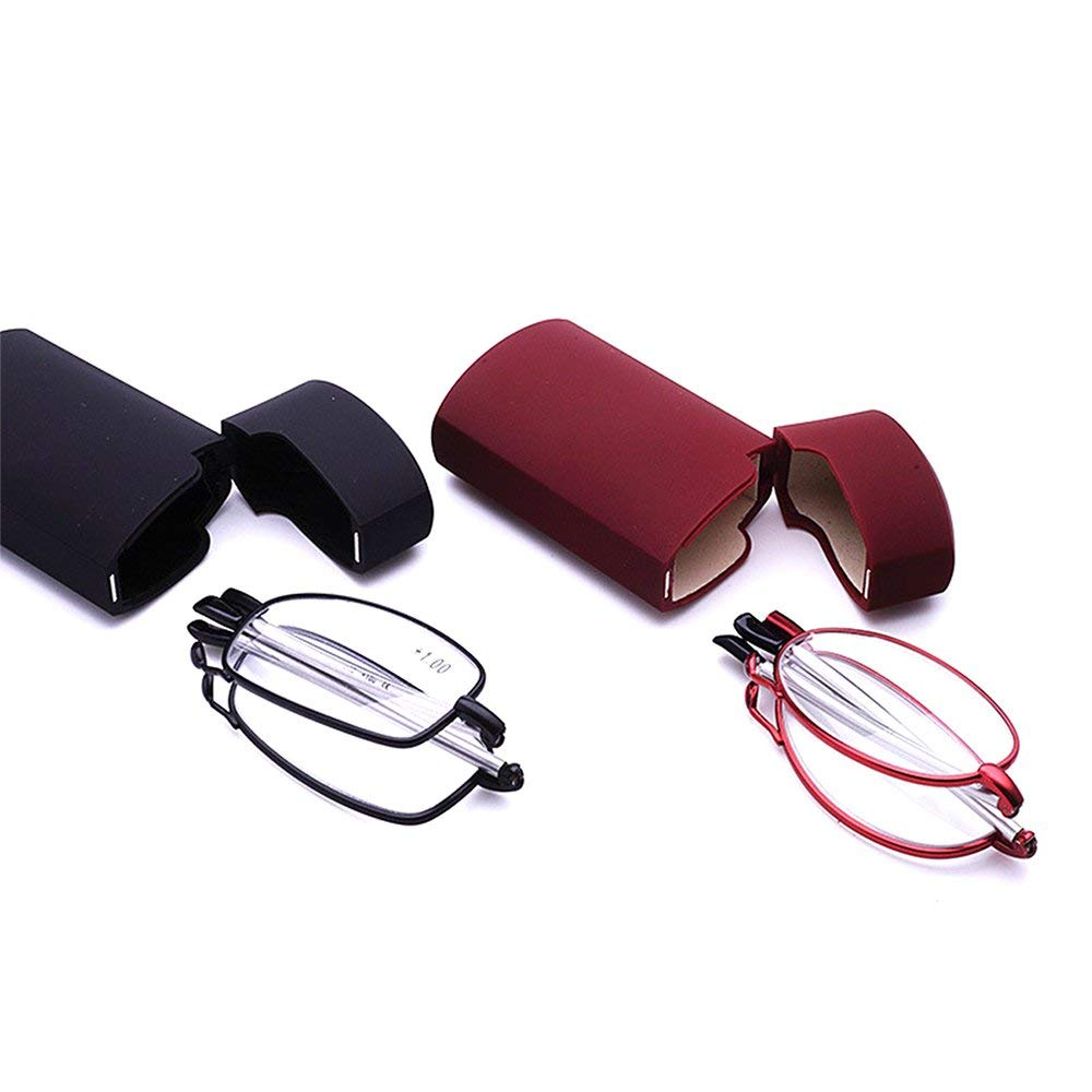 04f5be5cd617 Get Quotations · Unisex Folding Portable 2 Pairs of Black and Red Metal Reading  Glasses with Mini Flip Top