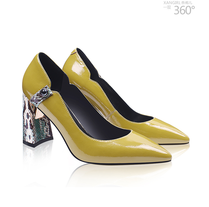 fashion heel Lady pumps shoes leather women block genuine 6aYxEa