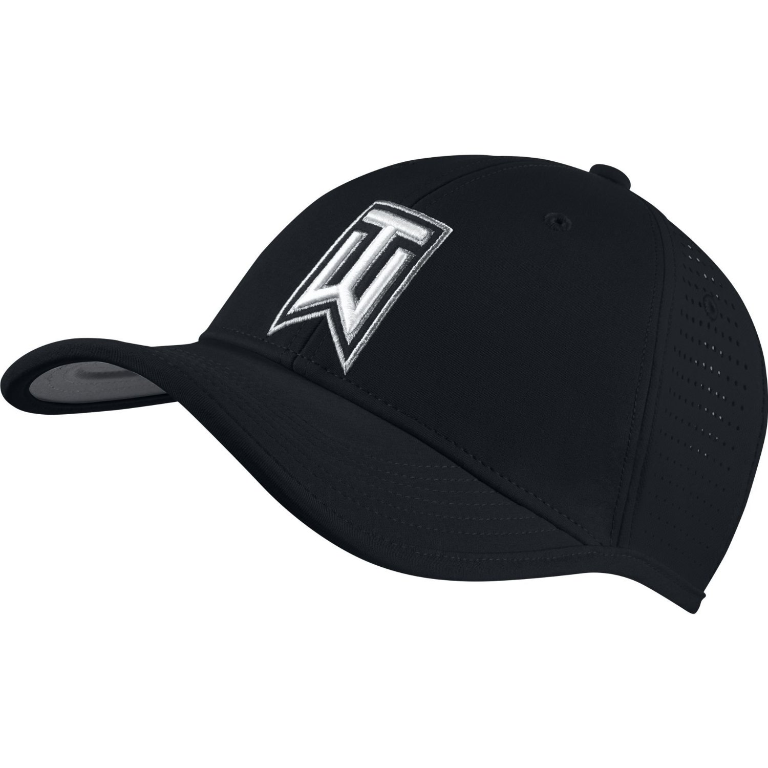 2ff3dffae13 Get Quotations · NEW Nike Tiger Woods Ultralight Tour Perforated Black White  Adjustable Hat Cap