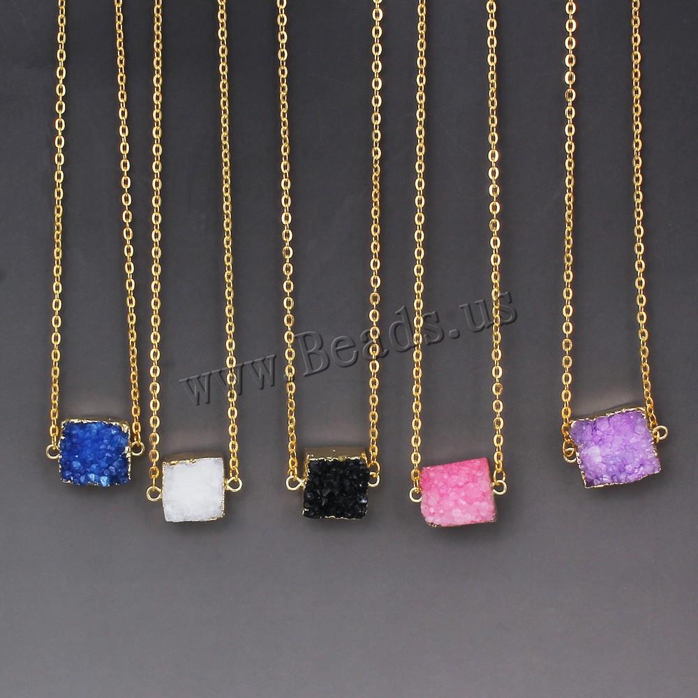 Новинка красочные природный камень ожерелье аметист розовый кварц Druzy хрустальные подвески заявление ожерелья для женщин