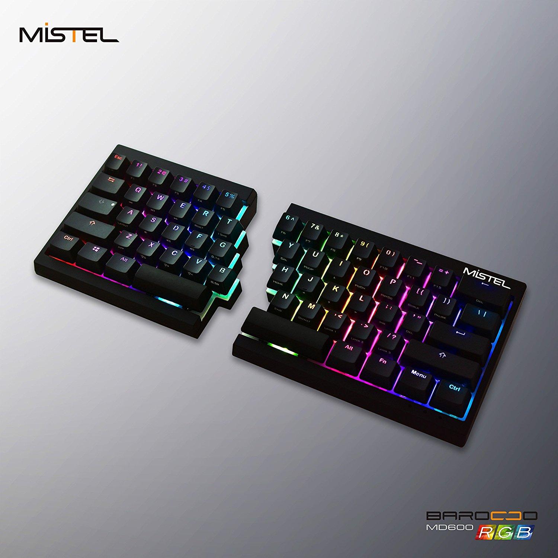 Mistel Barocco Ergonomic Split PBT RGB Mechanical Keyboard Cherry MX Brown Switches, Black