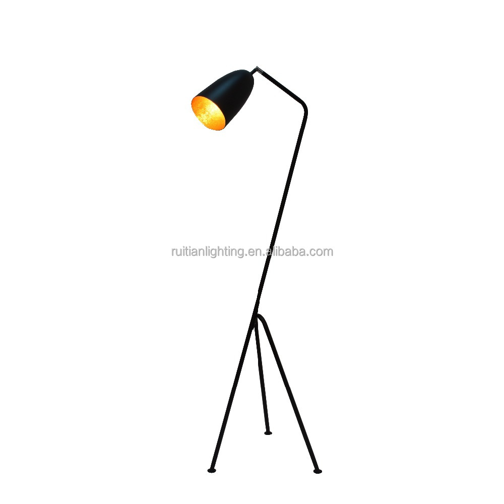 Nordic Style White Shade Home Decor Dining Room Lights Standing Tripod Floor Lamp , Matt Black Funnel Shade