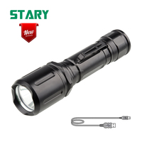 New arrival 10w 500 lumen 4 modes XM-L2 T6 18650 battery usb rechargeable torch light led tactical flashlight