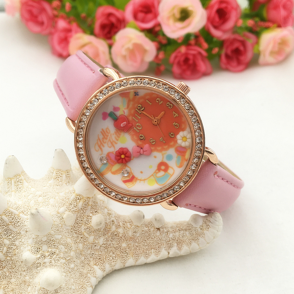 2016 New Arrival Hella Kitty Polymer Clay Solid Watch Girl Lovely Pink Cartoon Watch Kids Crystal Rhinestone Bracelet Hot Sale