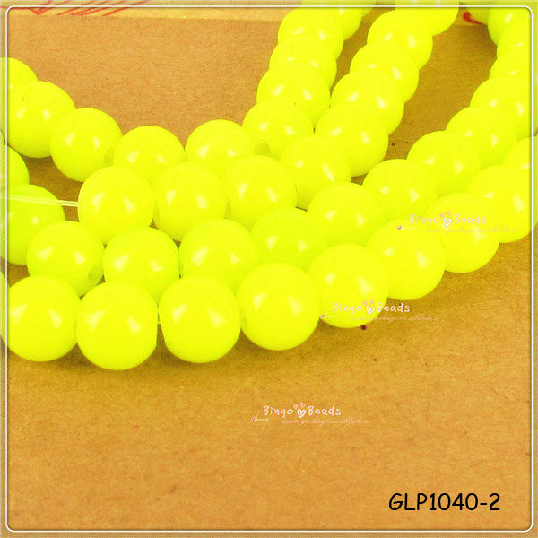 Neon Beads Yellow 6mm Czech Glass Round Druk Frosted Matte Bright Colorful Pressed Hot