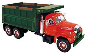 Mack B-61 Dual-Axle Dump Truck Red / Green 1/34 by First Gear 10-3962