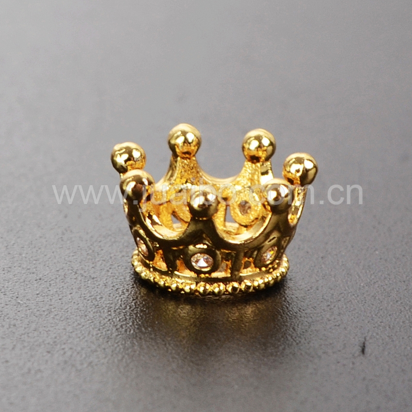 10x10mm Gold Plating CZ Micro Pave Crown Charm, Micro Pave Finding, Tiny Crown Pendant WX324