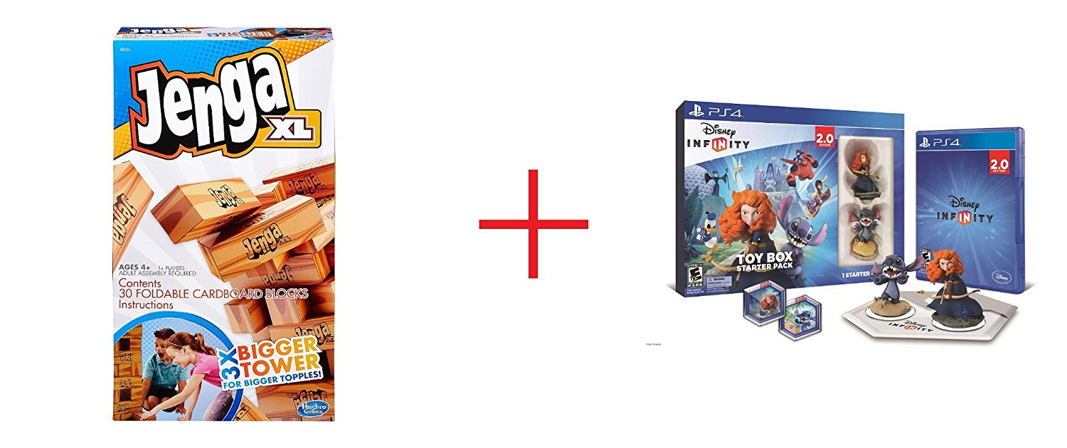 Jenga XL Game and Disney Infinity (2.0 Edition) Toy Box Starter Pack featuring Disney Originals for Sony PS4 - Bundle